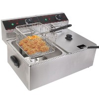 GHP Business Heavy Duty Tabletop Stainless Steel 110V Dual Tank Electric Fryer by Globe House...