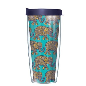 イエローElephants On Teal Tumbler Cup with Navy蓋 22 Oz 08-ELE3+L