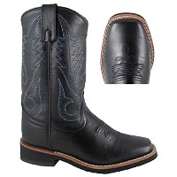 Smoky MountainレザーブラックJudge Youth Cowboy Boot with Square Toeとシンクレープソール