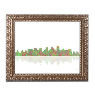 Trademark Fine Art San Diego California Skyline by Marlene Watson Gold Ornate Frame 16x20-Inch...
