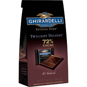 Ghirardelli Chocolate Intense Dark Squares, Twilight Delight 72% Cacao, 4.87-Ounce Bags (Pack of 8)...