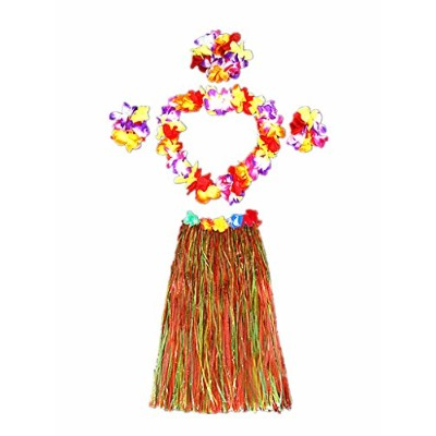 (Multicolor) - Hawaii Dancing Hula Grass Skirt Adult Costume Suit(Skirt colour:multicolor,thicken)...