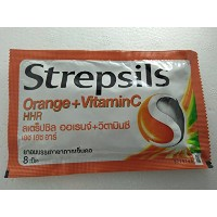 6 PACK STREPSILS ORANGE + VITAMIN C HHR Candy Relief for sore throats (1PACK = 8 TAB)