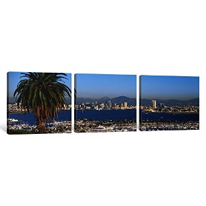 """iCanvasART 3Piece San Diego CAキャンバスプリントbyパノラマ写真、36by 12インチ/ 1.5"""" Deep"""