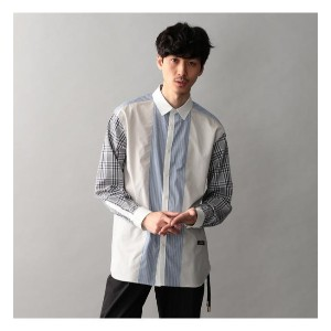 【Education from Youngmachines】MENS チェックスリーブコンビシャツ【ギルドプライム/GUILD PRIME メンズ Tシャツ・カットソー ベージュ ルミネ...