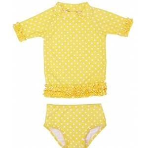 RuffleButts ラッフルバッツ水着 Yellow 4T UPF50+ ラッシュガード Yellow Polka Dot Ruffled Rash Guard Bikini (4T(95cm)...
