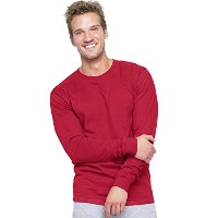 Hanes 5186 Adult Long Sleeve Beefy-T, Deep Red - 3X