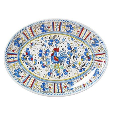 Le Cadeaux Rooster Coupe Oval Platter、16インチ、ブルー