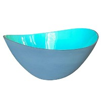 Large Teal andグレーWave Salad Bowl by Kauriデザイン  over-sizedセラミックServing Bowl