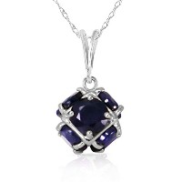 K14 White Gold Necklace with Natural Sapphires