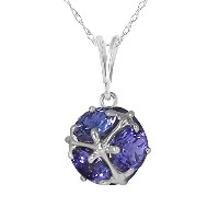 K14 White Gold Necklace with Natural Tanzanites