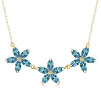 K14 Yellow Gold Lei Blue Topaz Necklace