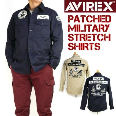 AVIREX アビレックス メンズ 長袖シャツ パッチド ミリタリー ストレッチシャツ PATCHED MILITARY STRETCH SHIRTS 6185108 送料無料 プレゼント ギフト