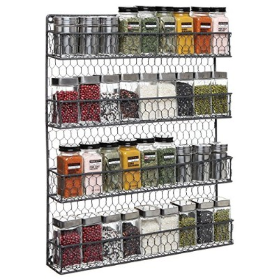 4 Tier Gray Country Rustic Chicken Wire Pantry, Cabinet or Wall Mounted Spice Rack Storage...