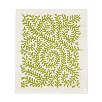 グリーンVine Leaves 7 x 8インチAbsorbant Earth FriendlyスウェーデンDishcloth グリーン