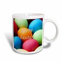 3dローズFlorene – Holiday – 印刷の明るい色付きEaster Eggs With Happy Easter – マグカップ 11-oz Two-Tone Red Mug mug...