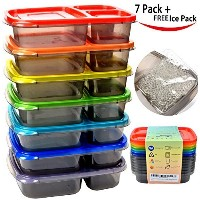 Color Meal Prep 3 Compartment Portion Control Plastic Bento Lunch Box Food Container and 1 FREE ice...