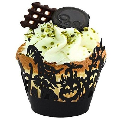 (Witch) - Since Pack of 60 Halloween Spiderweb/Witch/Castle Laser Cut Cupcake Wrappers Liners Party...