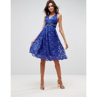 エイソス レディース ワンピース トップス ASOS Lace Prom Midi Dress With Ribbon Ties Royal blue
