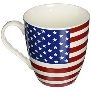 """Pfaltzgraff愛国アメリカ国旗Coffee Mug With」Proud to be an American """" on insideリップ–Large American..."""