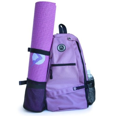 (Purple) - Aurorae Yoga Mat Bag. Multi Purpose Cross-body Sling Back Pack. Mat sold separately.