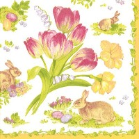Entertaining with Caspariカクテルナプキン、easter Bouquetイエロー、20-pack Pack of 40 12290C-2PK