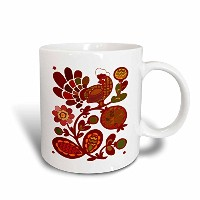 3dローズFlorene All Things Mexican–Folk Art with Red Rooster Nフローラル–マグカップ 11-oz Magic Transforming...