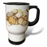 Patricia Sanders写真 – Sea Shells by the Sea Shore – 夏 – ビーチテーマ – 旅行マグ 14oz Travel Mug ホワイト tm_50550_1