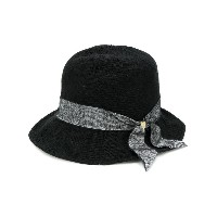 Ca4la tweed ribbon hat - ブラック