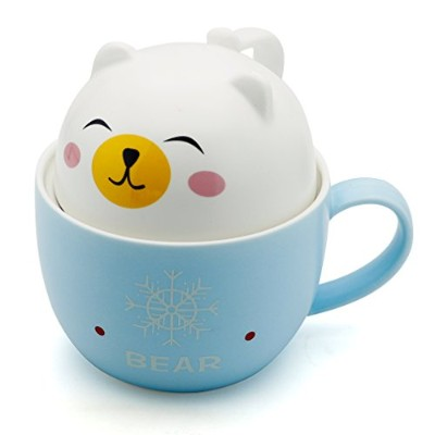Teagas Cute Funny Ceramic White Bear Coffee Mug Cup, Perfect Gift for Cousins Sisters Children
