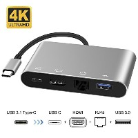 AIER Type-C ハブ 4in1 USB-C to HDMI/ LAN/ USB3.0/ Type C PD充電 映像変換アダプタ hub グレー Macbook 2017/2016/2015...