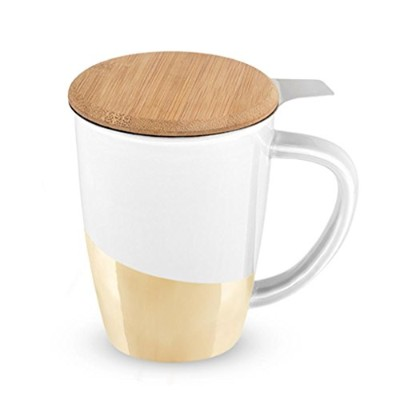 (White) - Pinky Up 5069.0 Bailey Gold Dipped Ceramic Tea Mug & Infuser Cups Saucers, White