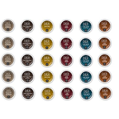 30 Count - Cafe Escape Variety K Cup For Keurig K-Cup Brewers - Cafe Caramel, Cafe Vanilla, Cafe Mocha, Chai Latte, Milk Chocolate Hot Cocoa, Dark Chocolate Hot Cocoa by Custom Variety Pack