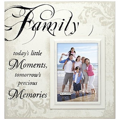 Malden International Designs Decorative Silkscreened Crテδィme Wood Family Moments Picture Frame, 5x7...