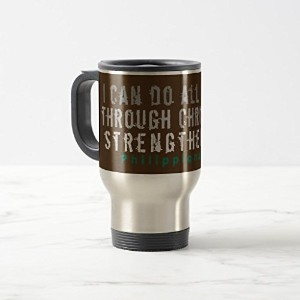 Zazzle Can Do All Things Scriptureマグブラウン 15 oz, Travel/Commuter Mug 3f07dc8a-5ecc-7d51-468b...