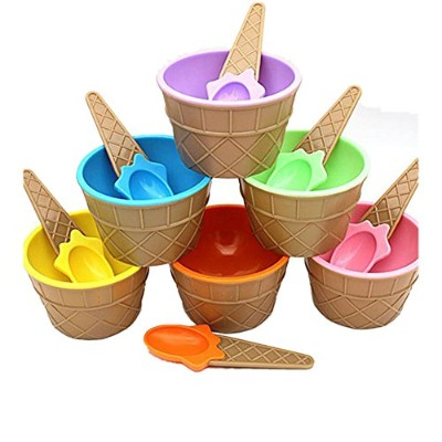 Vibola 6PC Ice Cream Bowls Ice cream Cup with a spoon for kids boys girls cute lovely a set of ice...