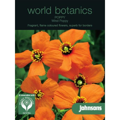 【輸入種子】Johnsons Seedsworld botanics collectionPoppy Wind Poppy=Stylomecon heterophyllumポピー・ウインドー・ポピー...