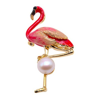 JYX Fine Flamingo Brooch Freshwater Pearl Brooches Pins