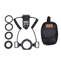 YONGNUO YN24EX E TTL Macro Flash Speedlite with 2pcs Flash Head and 4 pcs Adapter Rings for Canon...