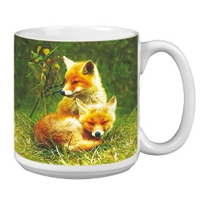 tree-free Greetings Extra Large 20-ounceセラミックコーヒーマグ、Foxes RelaxingテーマWildlifeアート( xm63123 )