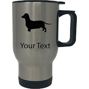 カスタムPersonalized Dachshund / Wiener 14 ozシルバーステンレススチールTravel Coffee Mug With Handle