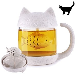 Cute Cat Tail Tea Cup with Detachable魚フィルタ、8.8ozガラスティーカップ、クリエイティブ猫尾コーヒーマグTea Lovely Cup For...