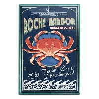 Roche港、wa – Dungeness Crab Vintage Sign 12 x 18 Metal Sign LANT-52127-12x18M