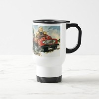 Zazzleビンテージビジネス、Logging Truck with Lumberjacksコーヒーマグ 15 oz, Travel/Commuter Mug e7ee7d7d-8604-ef0e...