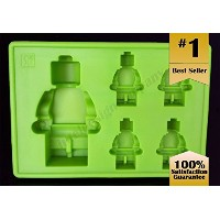Lego Building Brick and Figure Silicone Ice Tray Maker Mold, 3-Pack, Yellow/Blue/Green by Premier...