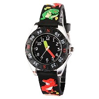 venhoo Kids Watches Cartoon防水シリコン子供腕時計Time Teacher Gifts for Boys Girls ブラック