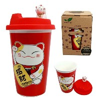 Atlantic Collectibles Lucky Cat Maneki NekoセラミックTall Drink Mug Cup with Silicone Lid 14オンス...