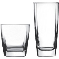 Stylish Easy-o-grip Glass 16-Piece Drinkware Set, Clear by Anchor Hocking