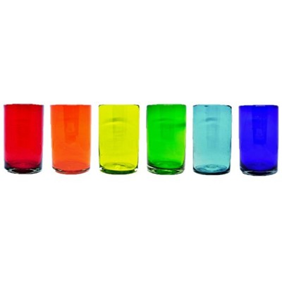 Mexican Blown Glass Drinking Glasses ' Rainbow ' ( Set of 6)