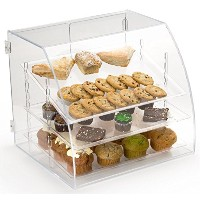 """Pastry Display Case with 3取り外し可能な棚、背面Loading–19"""" W x 17.5"""" H x 17.125"""" D–クリアアクリル"""